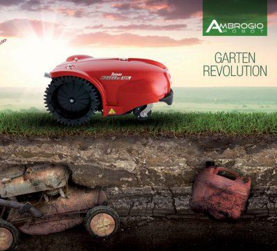 Ein Roter Mähroboter der Firma Ambrogio mäht den Rasen