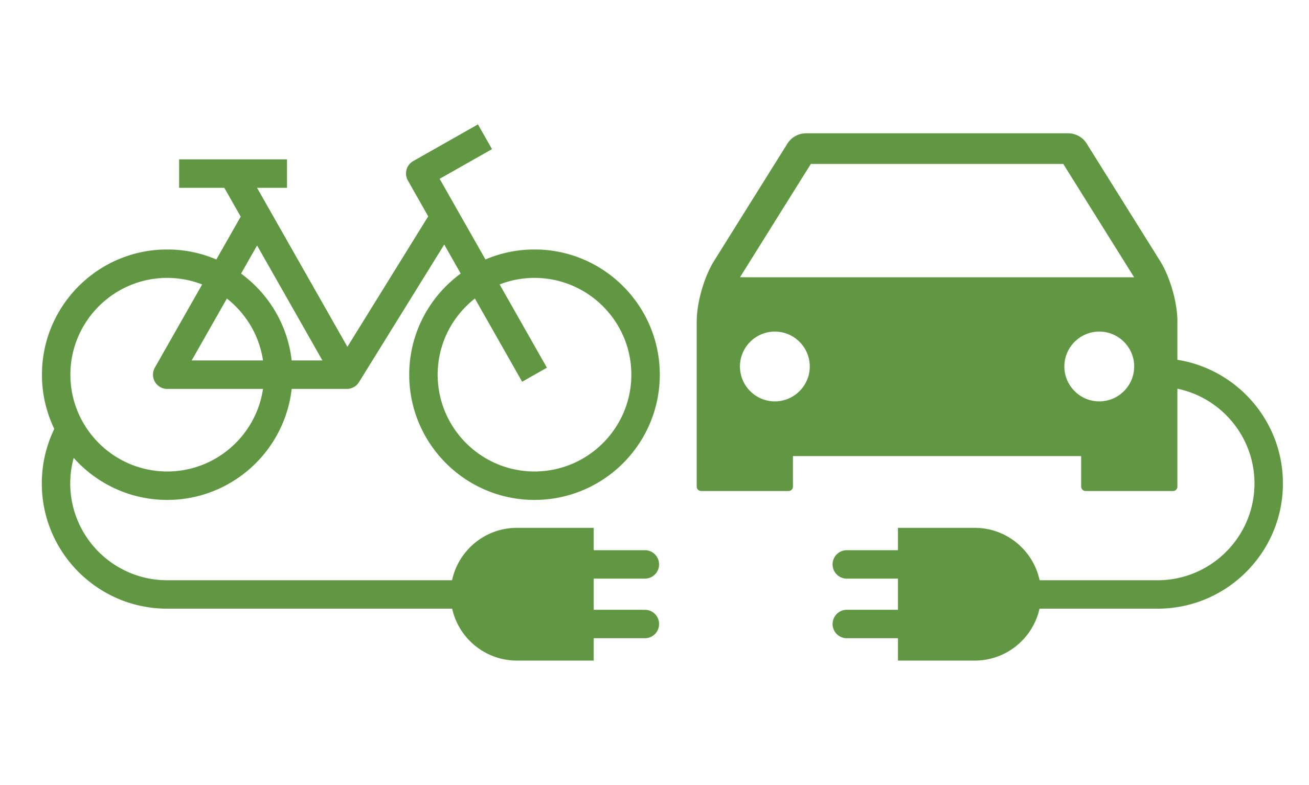 Electric car and electric bike icon